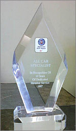 AAA 10 years Member Service Award | All Car Specialists