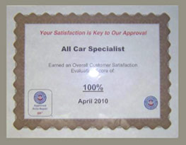 AAA 100 Percent Customer Satisfaction 2010 | All Car Specialists