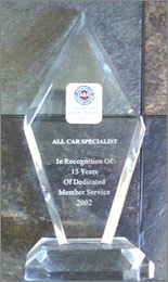 AAA 2002 Auto Repair Excellence Award | All Car Specialists