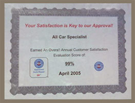 AAA Customer Satisfaction Award 99% April 2005 | All Car Specialists