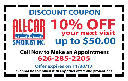 Auto Repair Coupons | All Car Specialists
