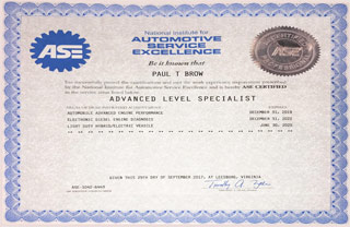 ASE Certified Professional - Advanced Level Specialist | Paul Brow