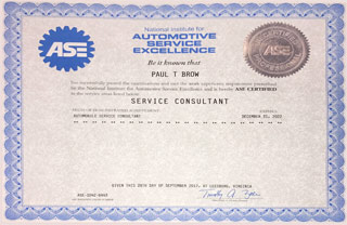 ASE Certified Professional - Service Consultant | Paul Brow