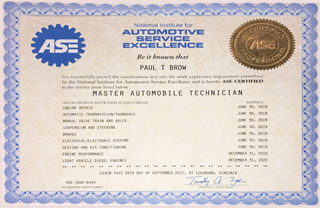 ASE Certified Professional Master Automobile Technician | Paul Brow