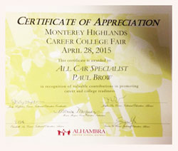 Appreciation Award Montery Highlands Career College Fair | Paul Brow