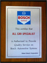 Bosch Service Award | All Car Specialists