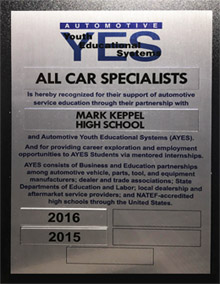 Automotive Y.E.S. Appreciation Award | All Car Specialists